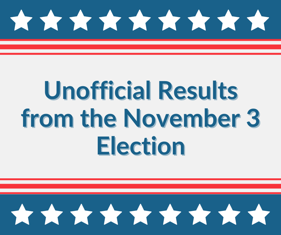 Unofficial Results from the November 3 Election