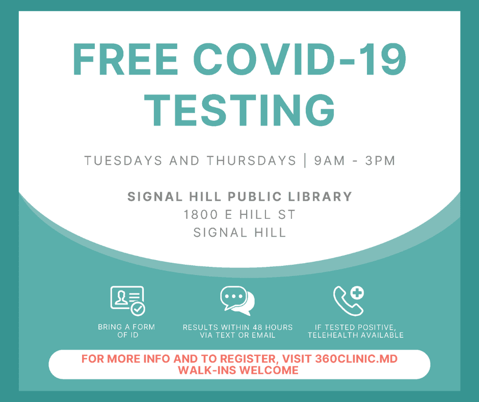Free COVID 19 Testing at the Library Tuesdays and Thursdays