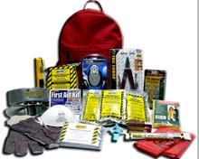 Red emergency kit backpack with supplies