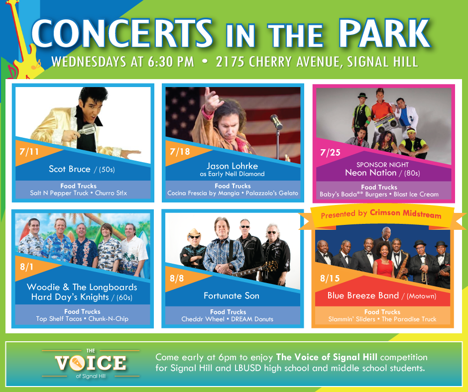 Concerts In The Park Bands and Food Trucks