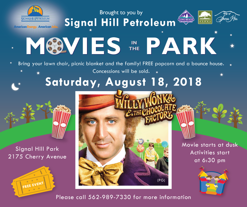 Willy Wonka Movies in the Park Saturday August 18