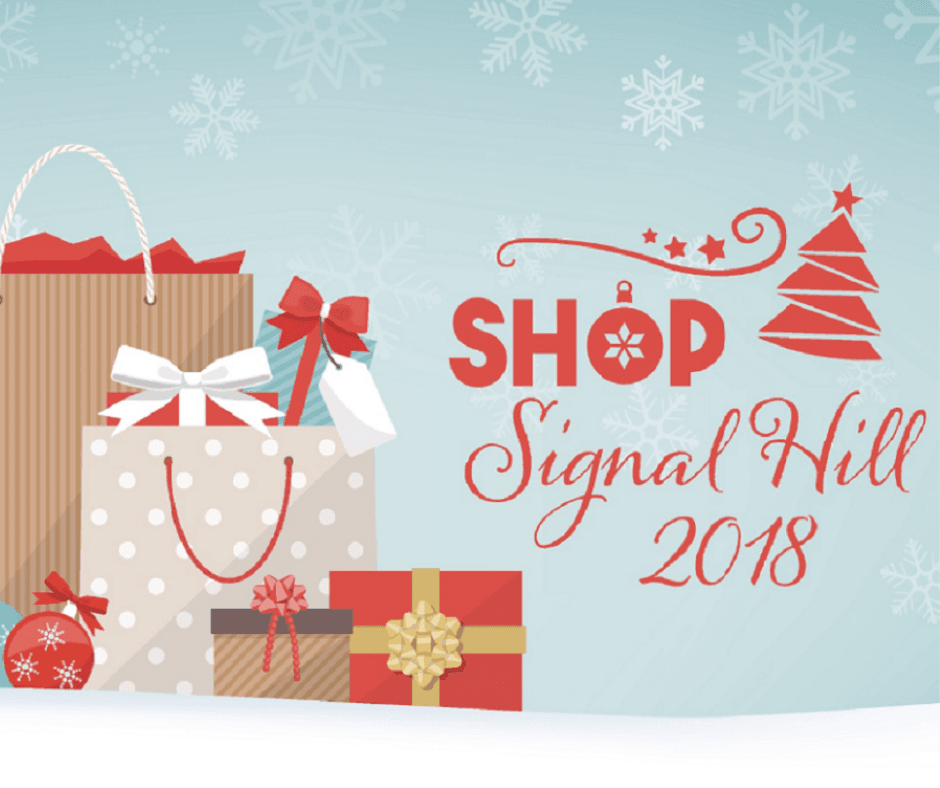 Shop Signal Hill 2018 with gifts and snowflakes