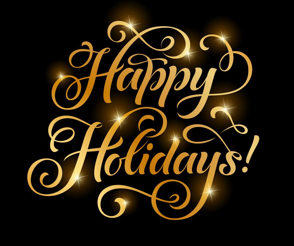 Happy Holidays Gold Script Text on a black background