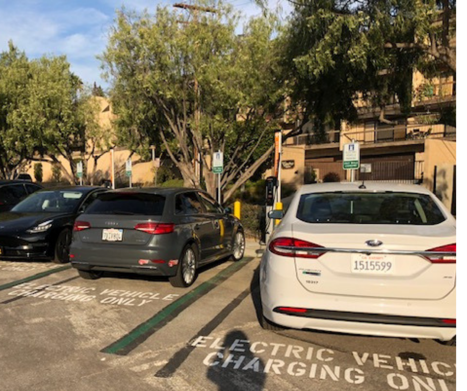Cars charging at the new EV charging stations