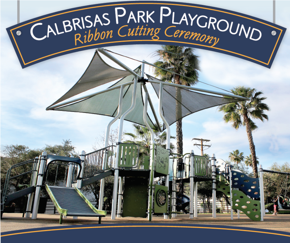 Calbrisas Park Ribbon Cutting Banner over picture of new playground equipment