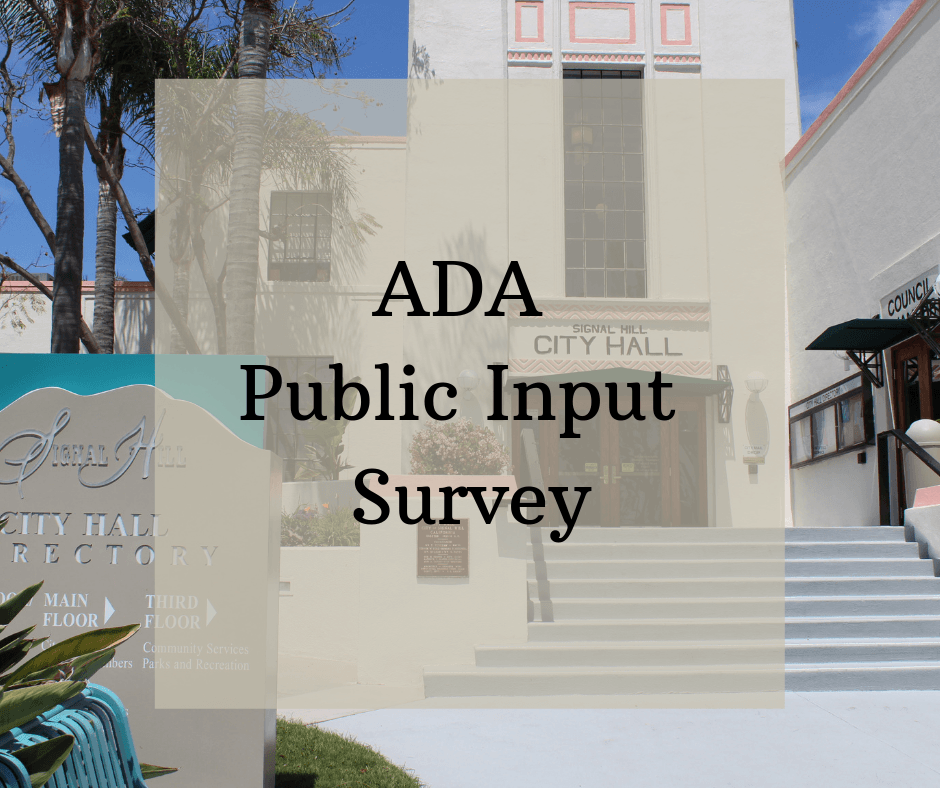 ADA Public Input Survey with City Hall in the background