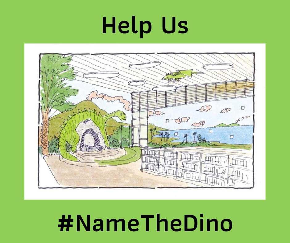 Help Us #NametheDino with concept drawing of large green dinosaur inside library