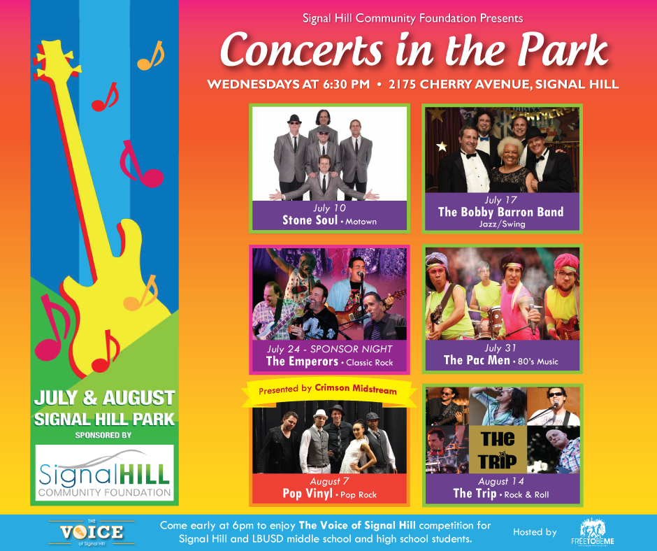 Concerts in the Park Wednesdays 6:30 pm Band Photos and Guitar Logo