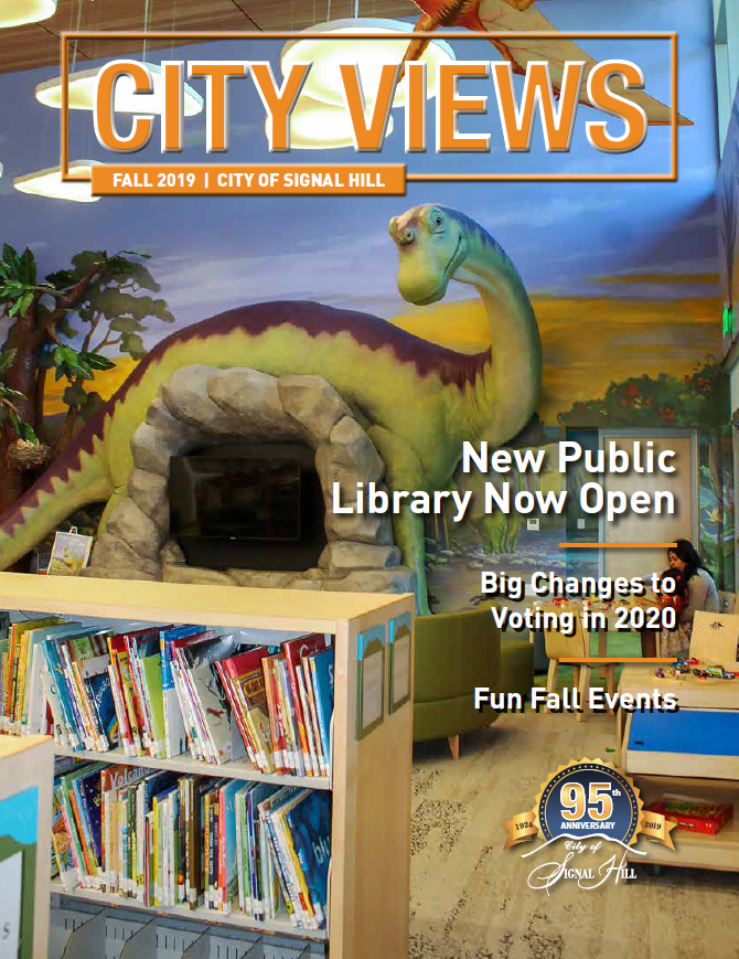 Fall City Views Cover with Dinosaur and Books New Public Library Open Big Changes to Voting Fun Fall