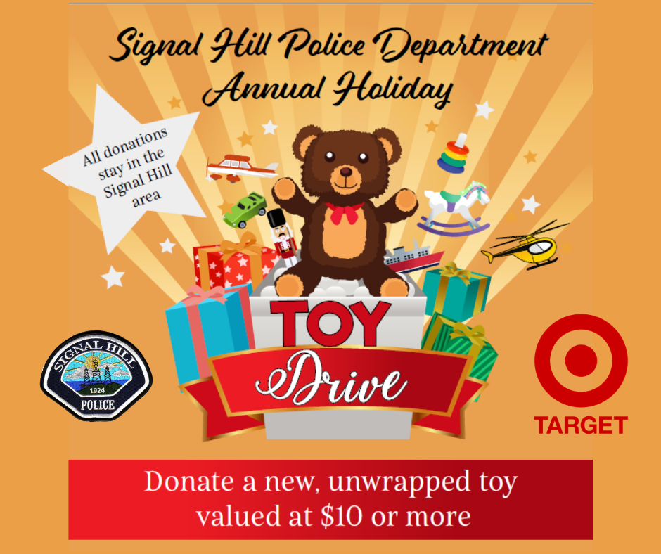 Holiday Toy Drive Bear with toys coming out