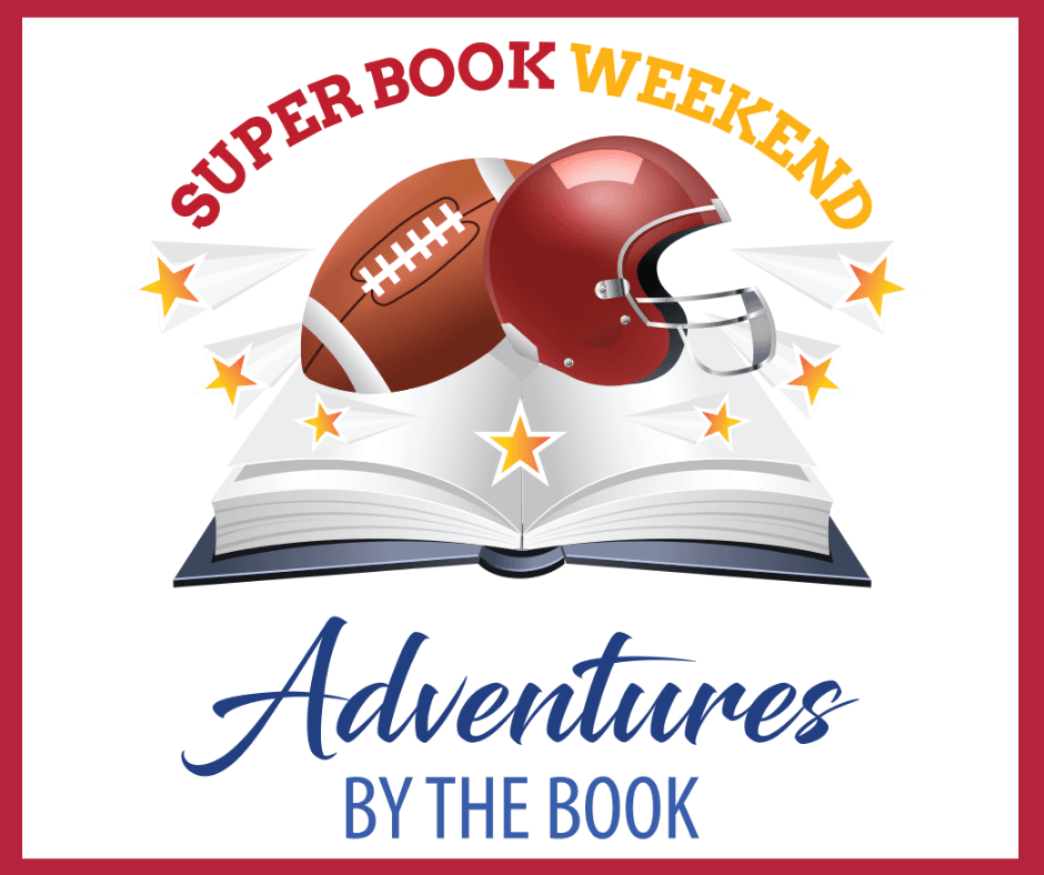 Super Book Weekend Book Logo with Football and Helmet