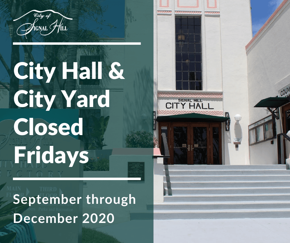 City Hall and City Yard Closed Fridays September through December